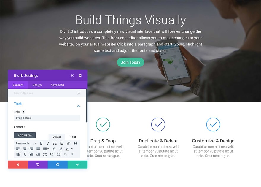 Using the Divi Visual Builder